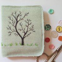 Embroidered needle case - winter tree