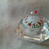 Embroidered pincushion - meadow flowers in vintage glass dish