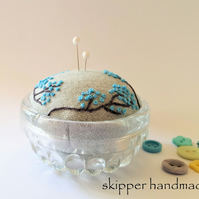 Embroidered pincushion - blue blossoms in vintage glass dish