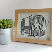 "Original Lino Print of Dalston Rio Cinema in London. 10x8"" (25.4x20.3cm)"