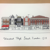 "Wanstead High Street Digital Print 10x8"" (25.4x20.3cm)"