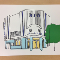 "Digital Print of 1930s Art Deco Dalston Rio Cinema 10x8"" (25.4x20.3cm)"