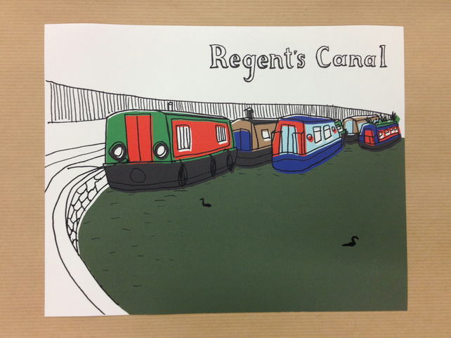 "Digital Print of the Regent's Canal in North London 10x8"" (25.4x20.3cm)"