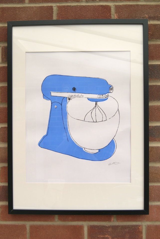 Blue Mixer Screen Print. A2