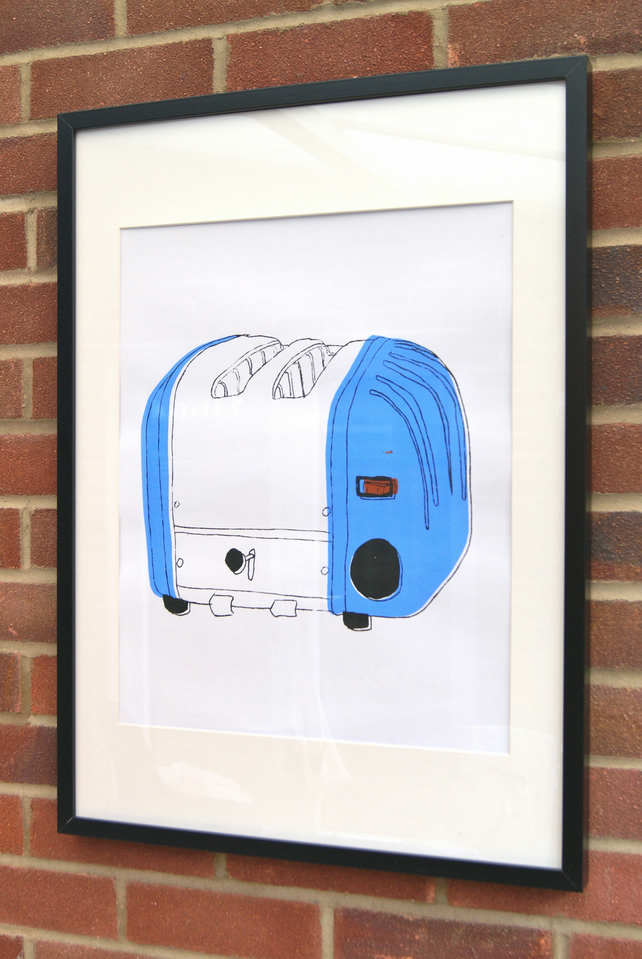 Blue Screen Print of Toaster Illustration. A2.