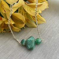 Amazonite and agate bar necklace