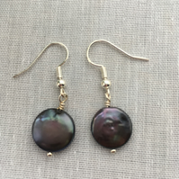 Black coin freshwater pearl earrings - made in Scotland.
