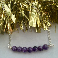 Amethyst bar necklace - made in Scotland.