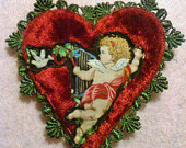 Valentine Red Heart Cupid Brooch