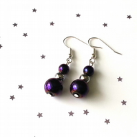 Hematite and glass earrings - sterling silver earrings - 5 earring options
