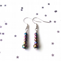 Rainbow hematite earrings - sterling silver earrings - 5 earring options