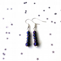 Purple hematite earrings - sterling silver earrings - 5 earring options