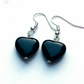 Black agate heart earrings - sterling silver earrings - 5 earring options