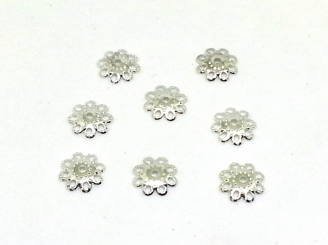 Silver flower bead caps - jewellery supplies - bead caps