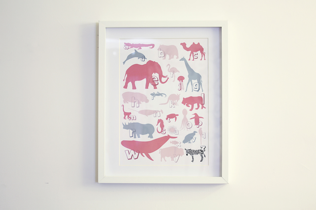 Nursery Print - Animal A-Z in Pink & Grey