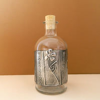ONE DAY SALE Glass Bottle Pewter Embossed Flower Motif