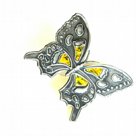 Reserved - Butterfly embellishment yellow mother of pearl inlay