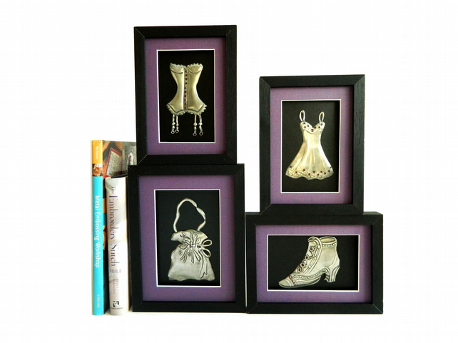 Wall Decor Collage of pewter framed sculptures