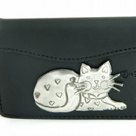 Reserved - Leather credit card case cat motif