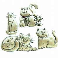 Reserved - Pewter cat embellishment set of 4 cats