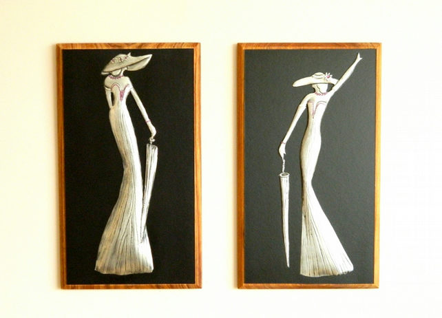 Pewter Wall Art Deco Ladies