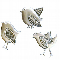 Pewter Embellishment Set of Birds