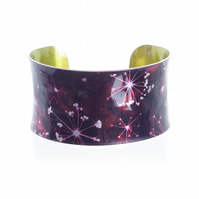 """Burgundy Cow Parsley""  Anticlastic Aluminium Cuff Bracelet"