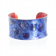 """Colourful Hydrangea"" Anticlastic Aluminium Cuff Bracelet"