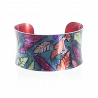 """Warm Mini Ferns"" Anticlastic Aluminium Cuff Bracelet"