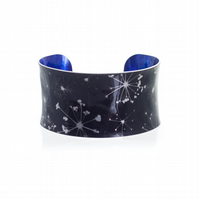 """Black Cow Parsley"" Anticlastic Aluminium Cuff Bracelet"