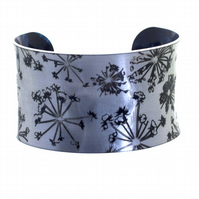 """Silver Cow Parsley"" Anticlastic Aluminium Cuff Bracelet"