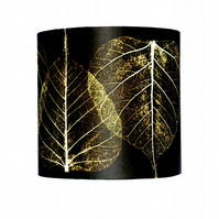 """Black Skeletal Leaves"" Lampshade"