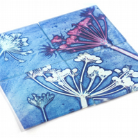 """Cow Parsley Blue"" Set of Four Glass Coasters"
