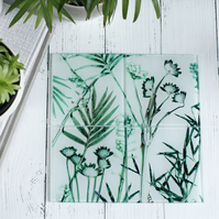 Palm Leaves Botanical Design Glass Coaster Set, Home Decor, Perfect Gift Set