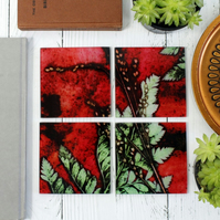 Strawberry Red Botanical Design Glass Coaster Set, Home Decor, Perfect Gifts