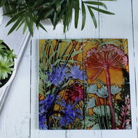 Tropical Sun Botanical Design Glass Coaster Set, Home Decor, Perfect Gift Set