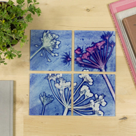 Cow Parsley Botanical Design Glass Coaster Set, Home Decor, Perfect Gifts