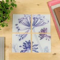 Bold White Botanical Design Glass Coaster Set, Home Decor, Perfect Gift Set