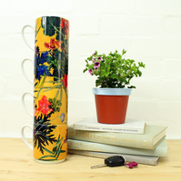 Exotic Yellow Tropical Design Stacking Mug Set, Perfect Gift Set for Home Decor