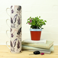 Cool Winter Design Stacking Mug Set, Perfect Gift Set for Home Decor