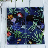 Blue Tropical Botanical Design Glass Coaster Set, Home Decor, Perfect Gift Set