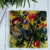 Exotic Yellow Tropical Design Glass Coaster Set, Home Decor, Perfect Gift Set