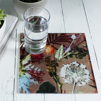 English Garden Design Glass Coaster Set, Home Decor, Perfect Gift Set