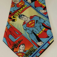 Necktie made from Superman fabric