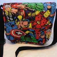 Messenger bag made with Marvel fabric