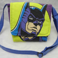 Messenger bag made with Bat Man fabric