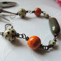 Wire wrapped bracelet with semi-precious stones