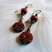 Red Czech glass bead earrings