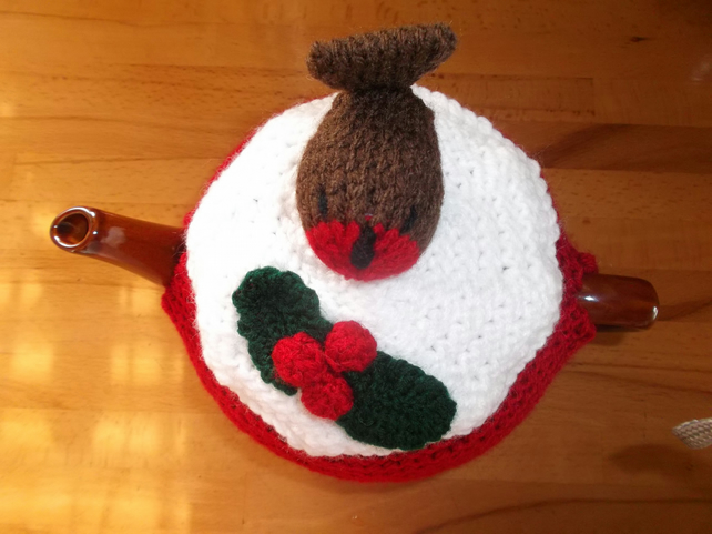 Christmas Robin Knitted Tea Cosy