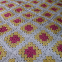 Crochet Yellow and Pink Blanket